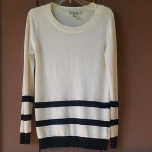 Cozy Forever 21 Cream and Black Striped Sweater